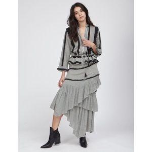 Love Sam Haley Black & Ivory Striped Layered Asymmetrical Midi Skirt Small NWT
